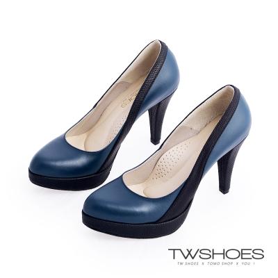 TWshoes真皮素面名媛高跟鞋-藍