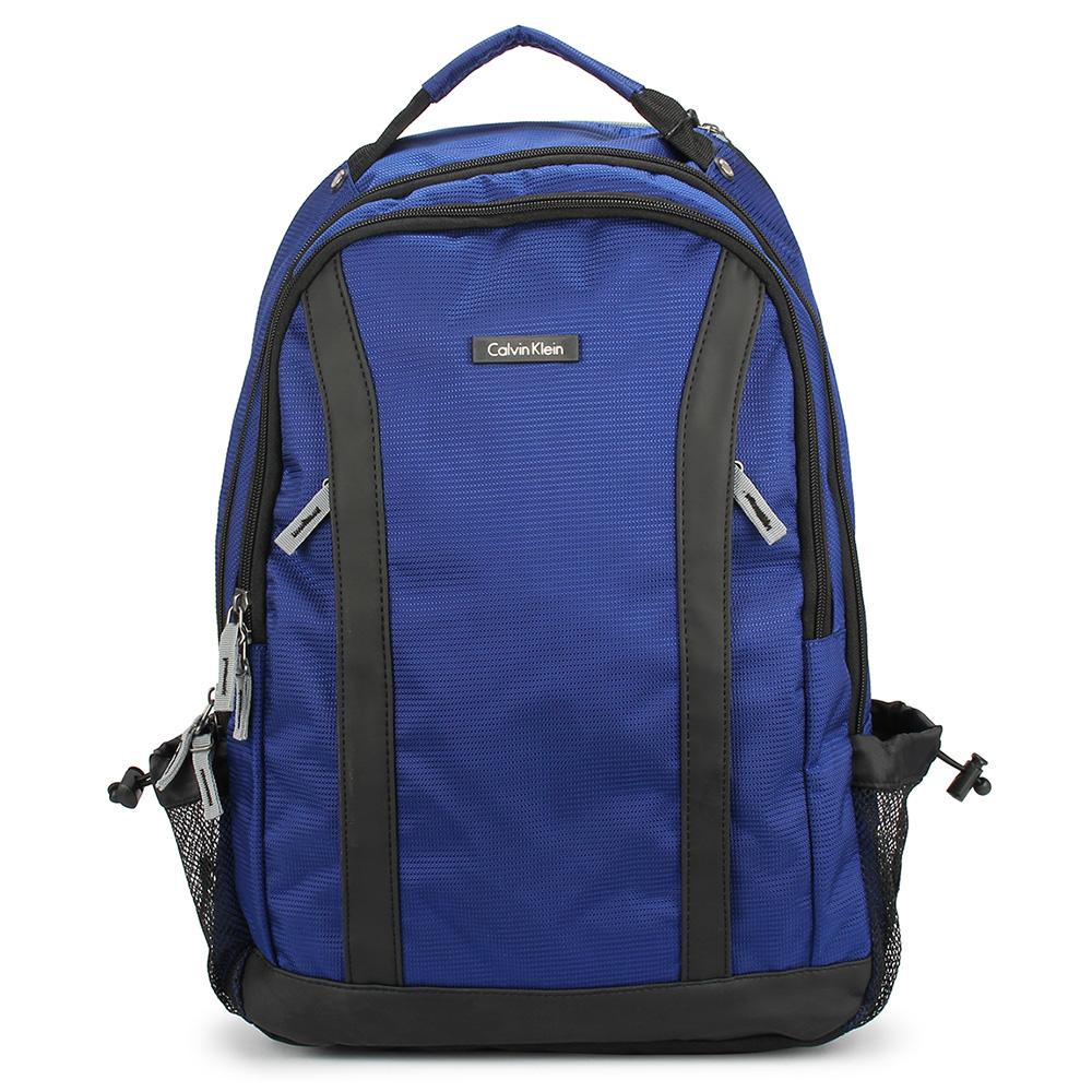 Calvin Klein 經典尼龍皮革飾邊後背包-藍色