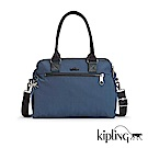 Kipling 手提包  緞面藍素面-大