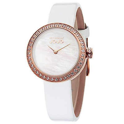 NATURALLY JOJO 絕美后冠晶鑽時尚腕錶-白/27mm