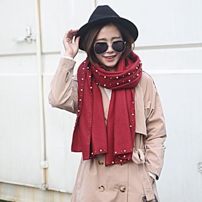 梨花HaNA-韓國東大門冬日溫暖鑲珍珠邊優雅厚圍巾