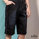 歐洲貴族oillio 休閒短褲 圖樣布料 牛仔風格 黑色