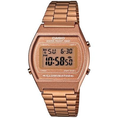 CASIO 簡單風鋼帶款電子數位錶(B640WC-5A)-咖啡金/38mm