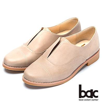 bac後切軟墊 經典造型真皮平底鞋-淺灰