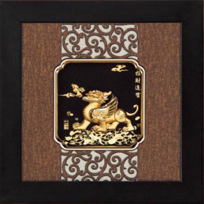 開運陶源 金箔畫 純金 *小古典中國風系列*貔貅【招財進寶】...24x24cm
