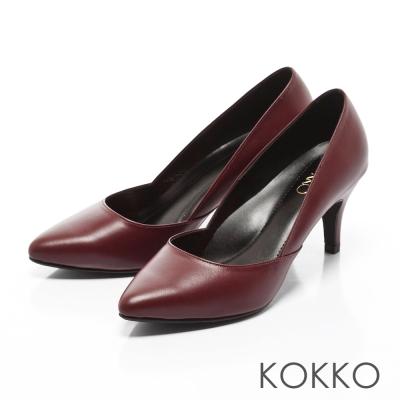 KOKKO-經典復刻尖頭真皮側挖低高跟鞋-紅