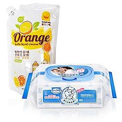 貝恩 NEW嬰兒保養柔濕巾/箱+黃色小鴨 奶瓶洗潔劑補充包