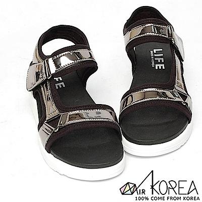 【AIRKOREA】韓國空運皮革質感氣休閒氣墊增高涼鞋 銀