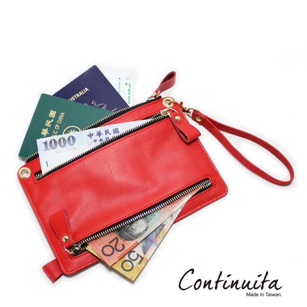 Continuita 康緹尼 頭層牛皮全球通用四國貨幣包-紅色