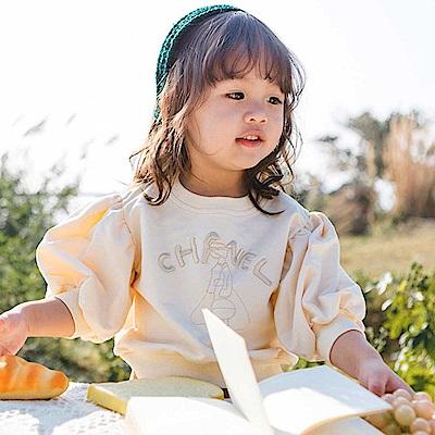 Baby unicorn 米白英文繡字七分袖上衣