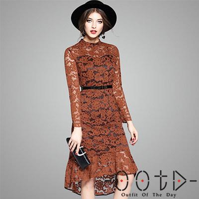 鏤空不規則蕾絲長袖洋裝 (咖啡色)-OOTD