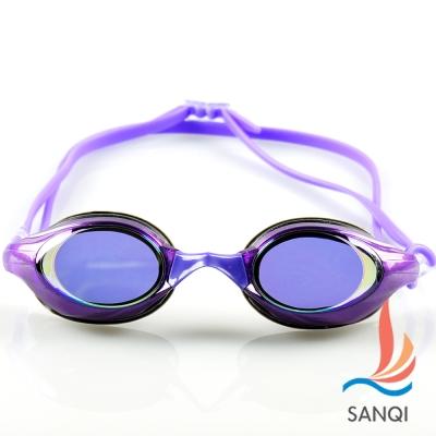 SANQI三奇 夏日必備抗UV防霧休閒泳鏡(8300-紫F)