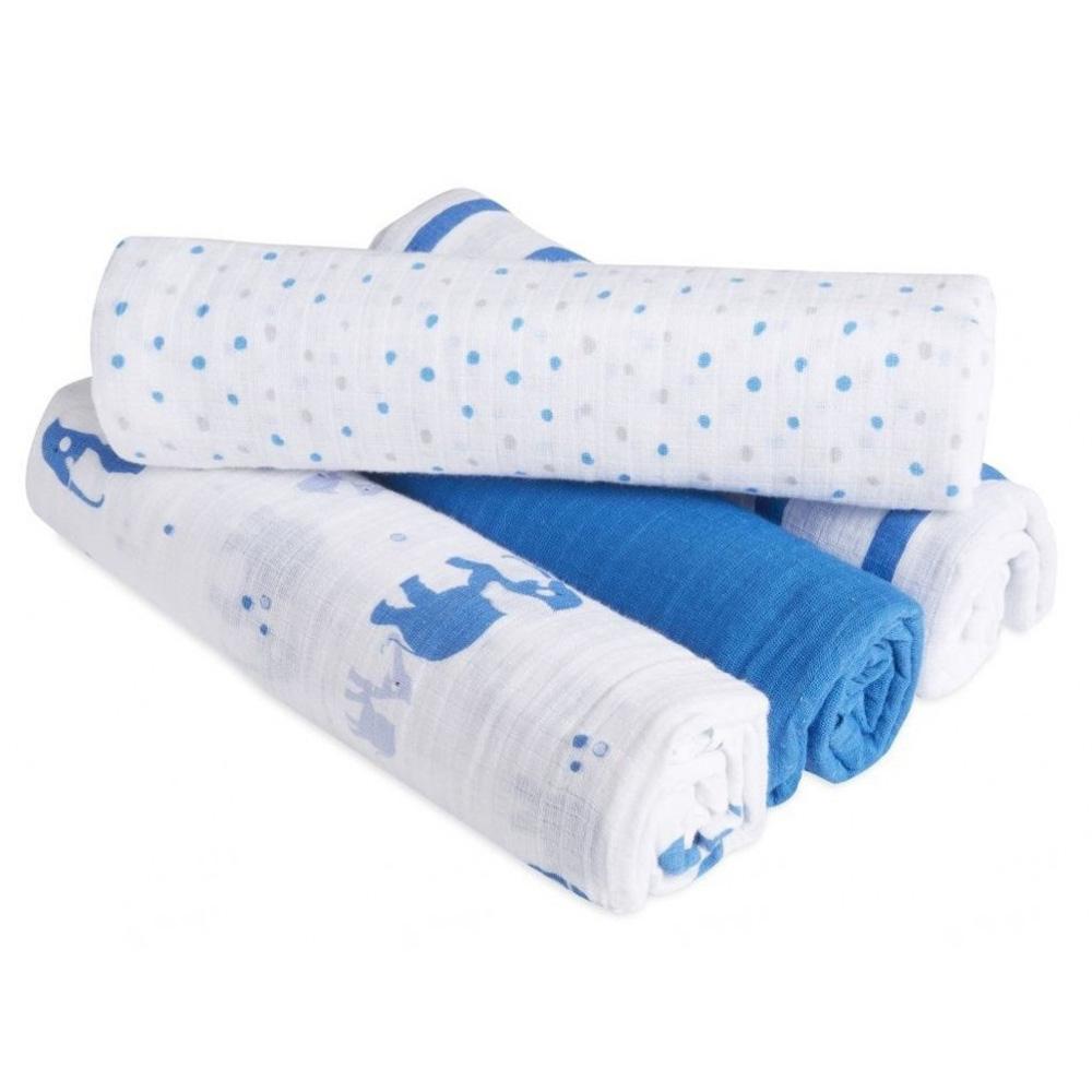 美國aden+anais新生兒外出包巾(4入)-藍大象系列AA-S130
