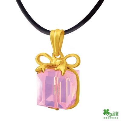 幸運草 粉紅緞帶黃金/水晶墜子 送項鍊