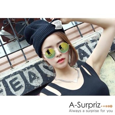 A-Surpriz 潮流徽章反摺毛線帽(黑色系)