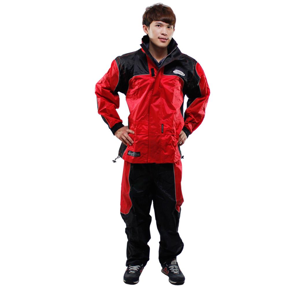 [快]天龍牌 新重裝上陣F1機車型風雨衣-紅色+通用鞋套