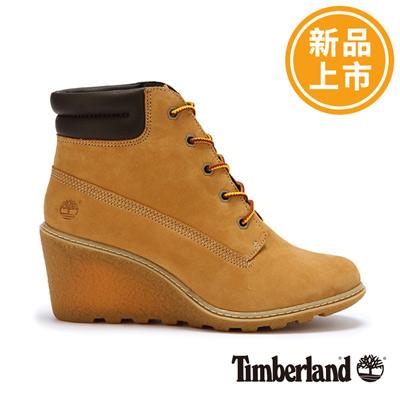 Timberland-女款小麥黃楔形厚領綁帶6吋靴