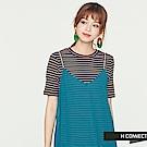 H:CONNECT 韓國品牌 女裝 -細肩帶雪紡下百摺洋裝-藍綠色