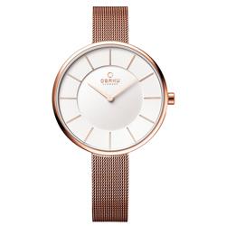 OBAKU 雅悅媛式時尚米蘭腕錶-玫瑰金框白-大/38mm