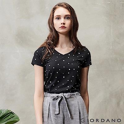 GIORDANO 女裝好感百搭V領短袖T恤-71 標誌黑/皎雪