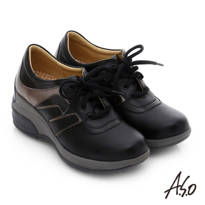A.S.O 抗震美型 牛皮綁帶奈米楔型休閒鞋 黑色