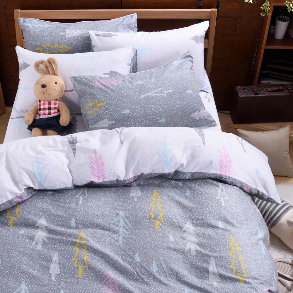 織眠坊-小樹 文青風加大四件式特級100%純棉床包被套組
