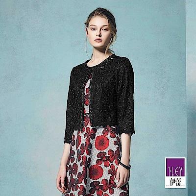 ILEY伊蕾 輕奢縷空蕾絲短版外套魅力價商品(黑)
