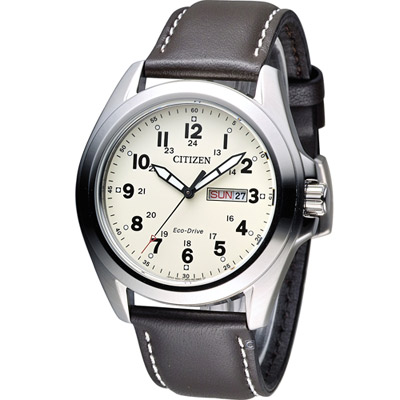 CITIZEN 星辰 光動能復古豪傑時尚腕錶(AW0050-15A)-米黃x咖啡/43mm
