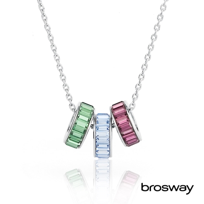 brosway Tres Jolie 施華洛世奇水鑽不鏽鋼項鍊 綠/紫