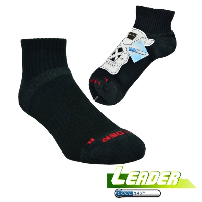 LEADER COOLMAX 除臭機能運動襪 黑色