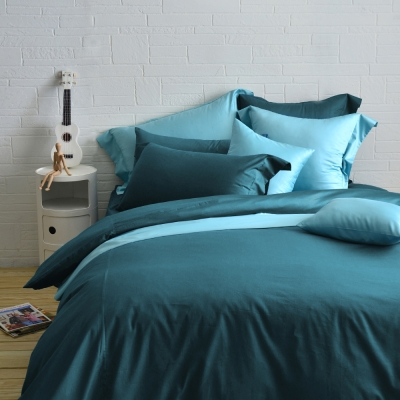 Cozy inn 簡單純色-孔雀藍 雙人四件組 200織精梳棉薄被套床包組