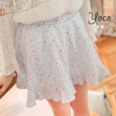 東京著衣-yoco 甜蜜時刻小碎花荷葉襬褲裙-S.M(共二色)