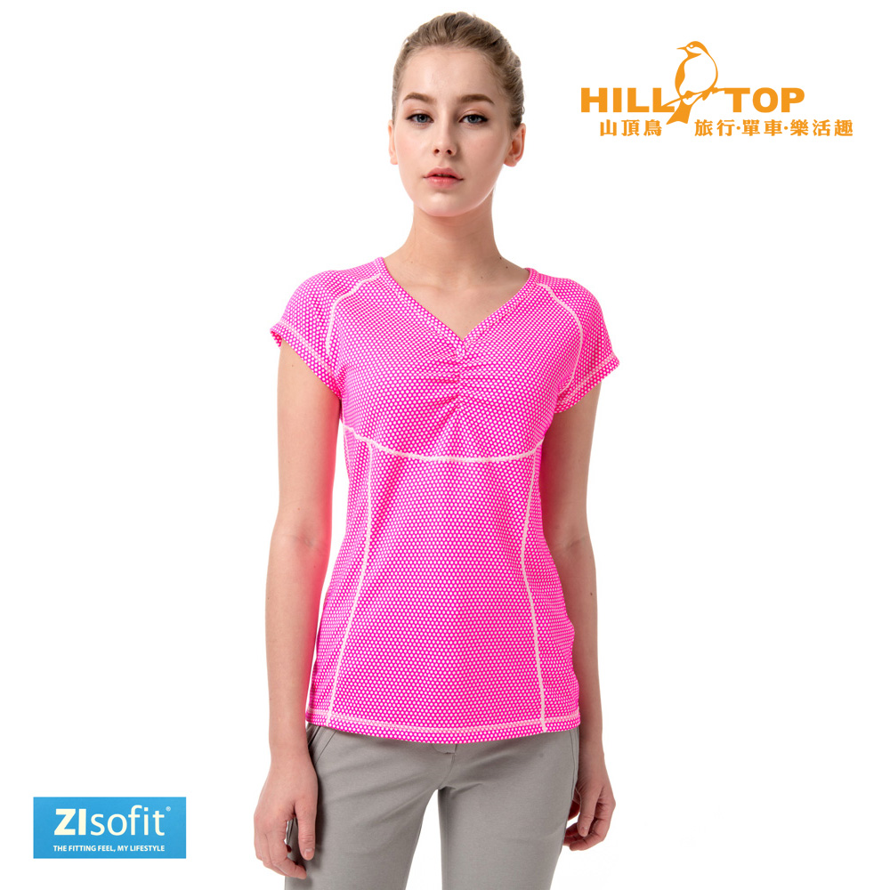 【hilltop山頂鳥】女款Zlsofit吸濕排汗上衣S04FF7白桃紅圈圈