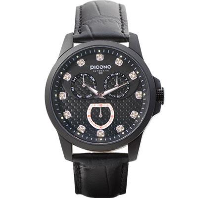PICONO 時尚簡約全日曆手錶 - 編織三眼日曆系列 - IP黑/40mm