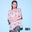 SNS 熱帶度假感棕梠樹圖騰X條紋上衣(2色)
