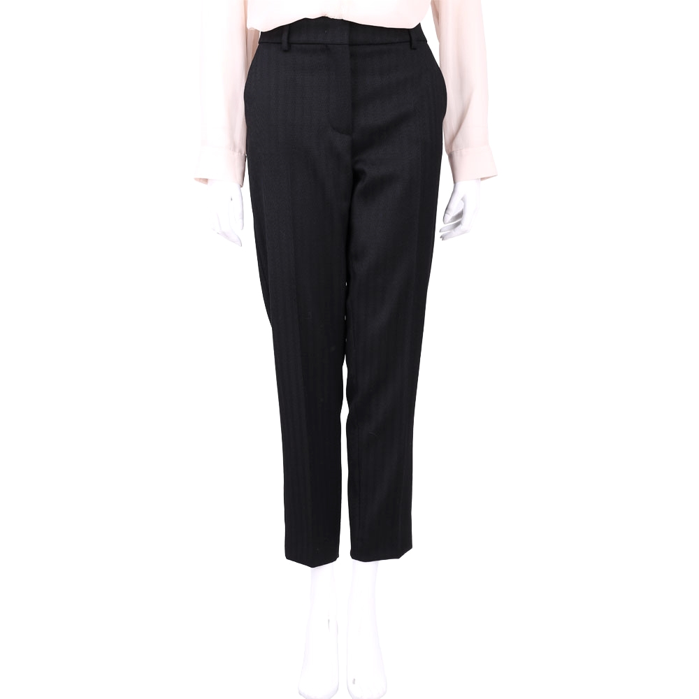 Max Mara-SPORTMAX 黑色條紋羊毛西裝九分褲(44%LANA)