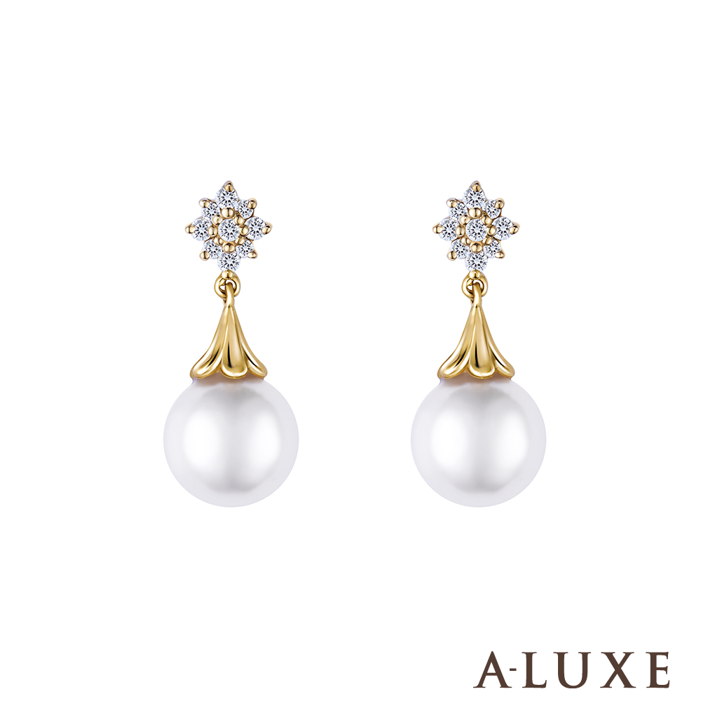 A-LUXE 亞立詩鑽石 日本AKOYA 7-7.5mm 珍珠美鑽耳環