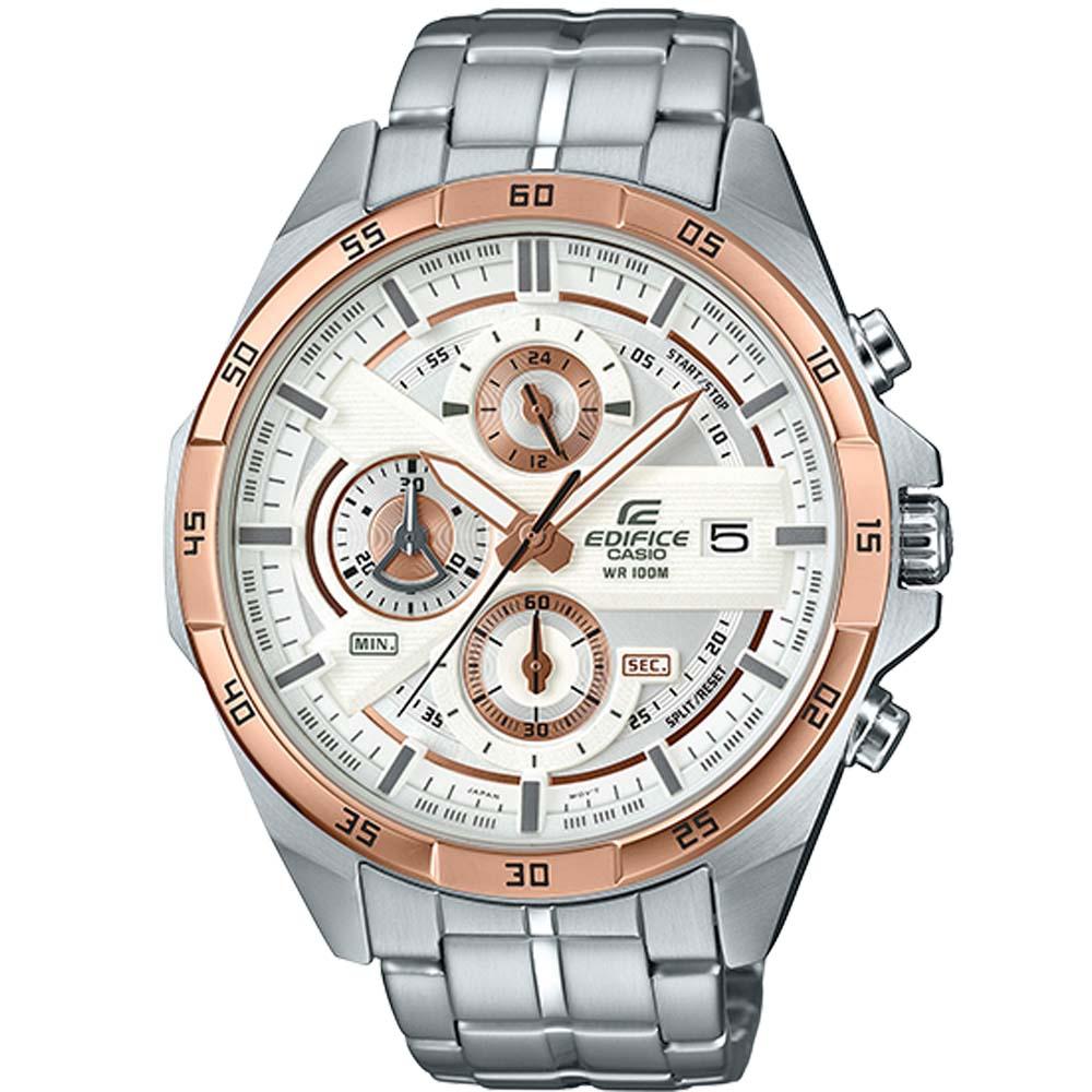 EDIFICE簡約新時尚古銅金離子IP賽車錶(EFR-556DB-7)白面X金48.7mm
