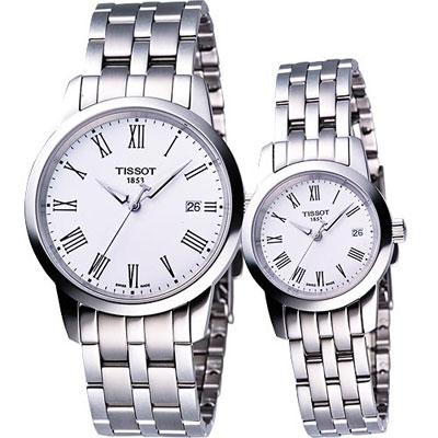 TISSOT CLASSIC DREAM 經典鋼帶對錶(白)