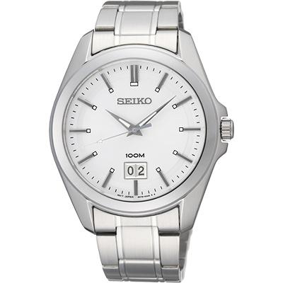 SEIKO 大日期視窗百米腕錶(SUR007P1)-銀/40mm