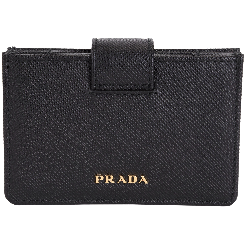 PRADA Saffiano 防刮牛皮萬用卡夾(黑色)PRADA