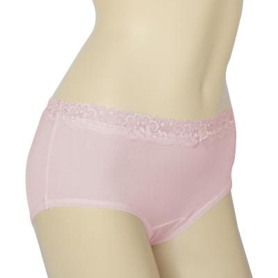 三角內褲 100%蠶絲法式蕾絲中腰內褲2件組M-XL(粉紅) Seraphic