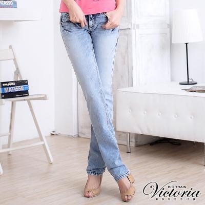 Victoria 低腰雪花洗小直筒褲-女-淺藍