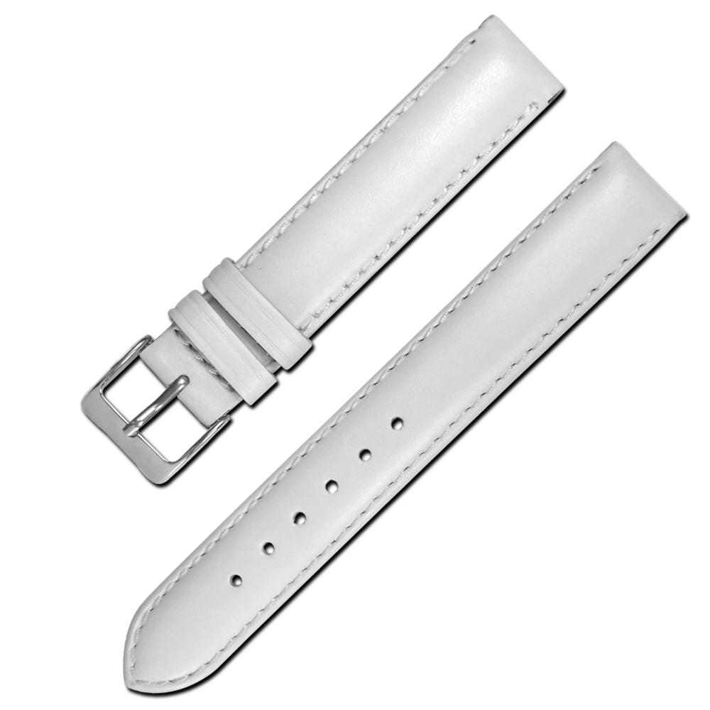 Watchband 各品牌通用柔軟簡約質感車線真皮錶帶- 白色