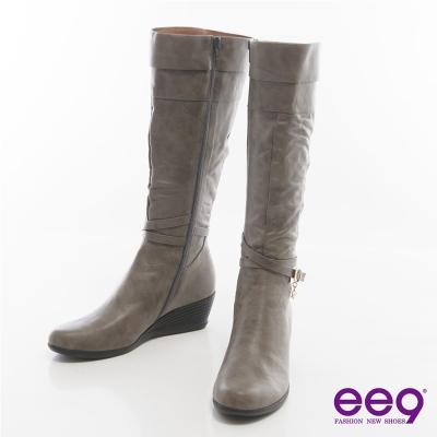 ee9率性都會~皮帶環釦纏繞百搭楔型長靴*灰色