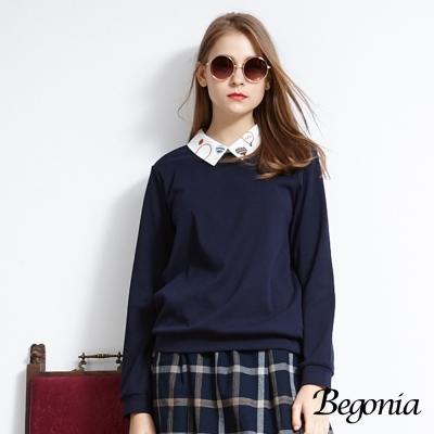 Begonia 熱氣球刺繡領假兩件上衣(共兩色)