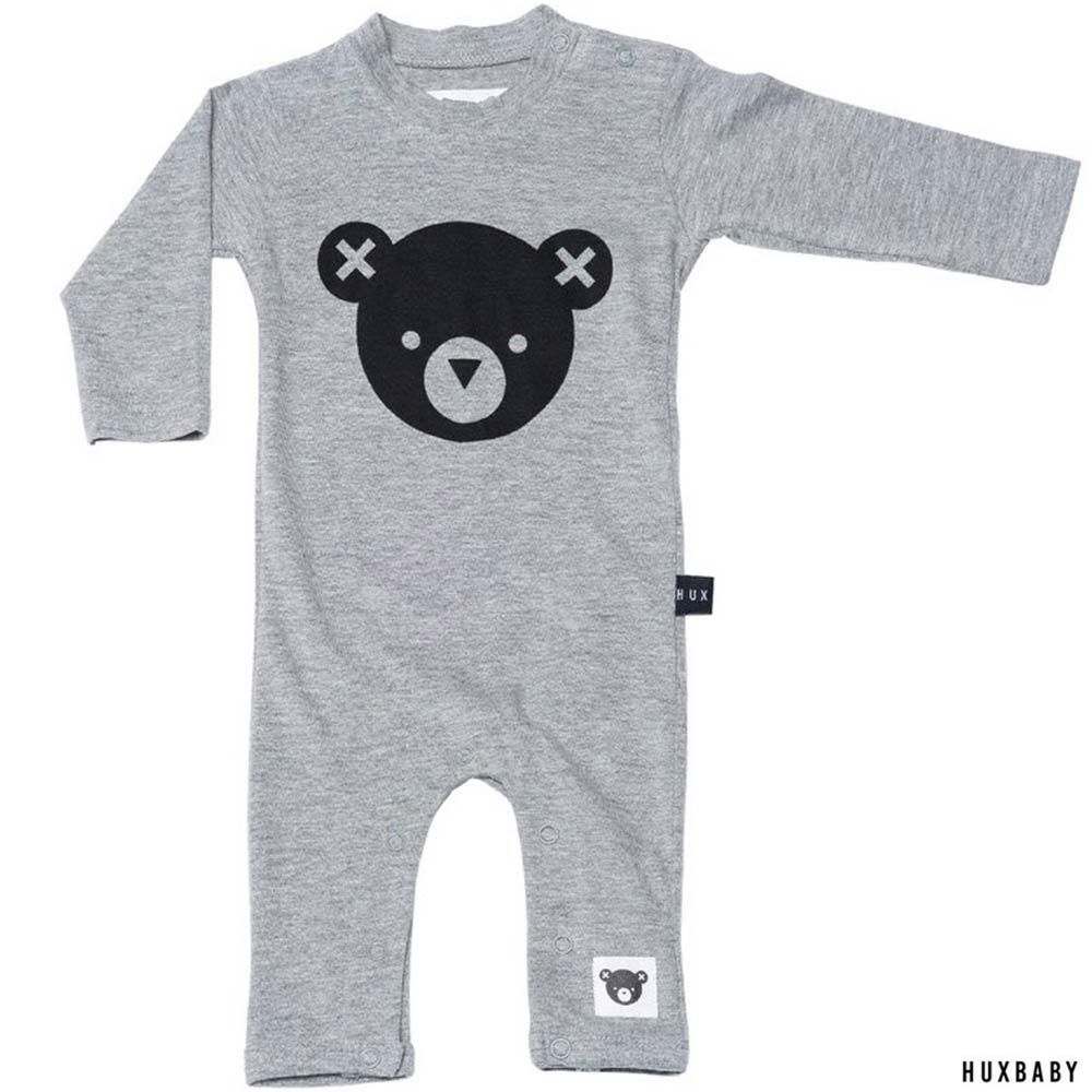 Huxbaby 澳洲 淺灰小熊有機棉長袖連身衣包屁衣
