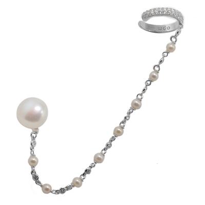 apm MONACO法國精品珠寶 閃耀銀色鑲鋯珍珠連耳扣單邊耳針式耳骨夾耳環