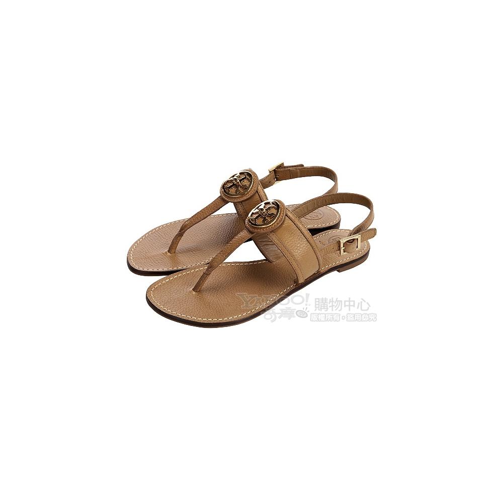 TORY BURCH 棕色金屬盾牌飾夾腳涼鞋