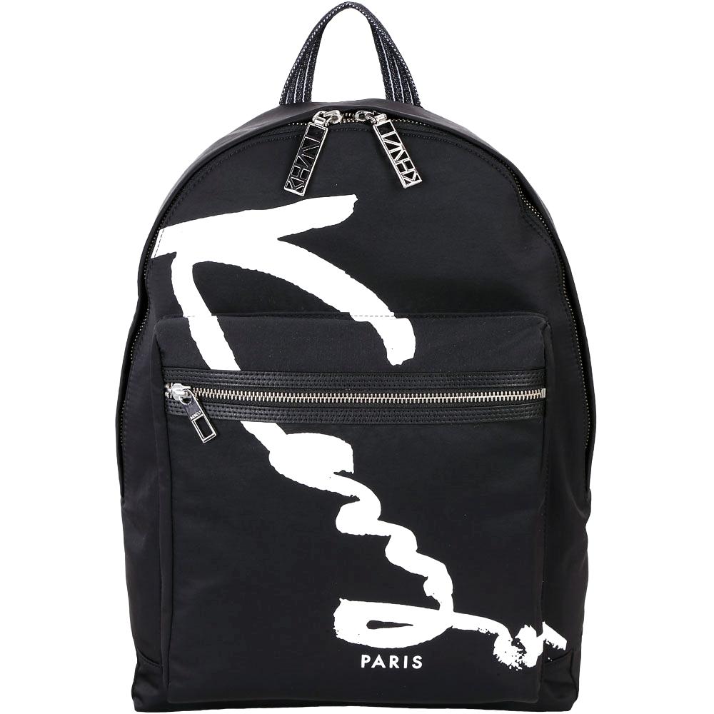 KENZO Signature草寫字母尼龍後背包黑色